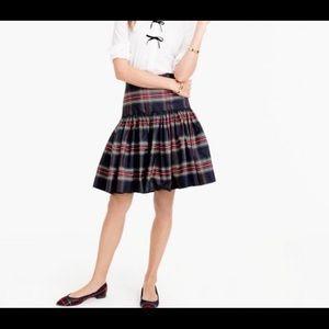 J Crew Tafetta in Stewart Plaid Drop Waist Skirt